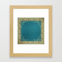 teal and gold belle époque pattern Framed Art Print