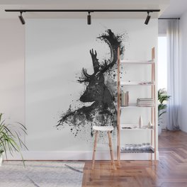 Deer Head Watercolor Silhouette - Black and White Wall Mural