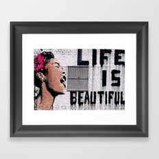Life is Beautiful Banksy Mr Brainwash graffiti street art Framed Art Print
