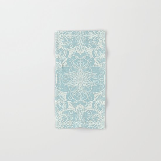Floral Pattern in Duck Egg Blue & Cream Hand & Bath Towel