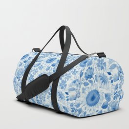 Denim Blue Monochrome Retro Floral Duffle Bag