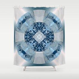 Microchip Mandala in Blue Shower Curtain