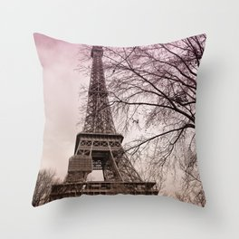 Eiffel Tower Paris in pink Throw Pillow