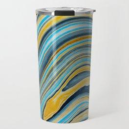 Blue marbled waves Travel Mug