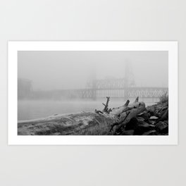 Frosted Log By Bridge In Fog Art Print