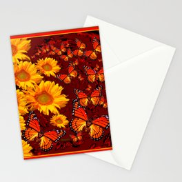Golden Yellow Sun flowers & Orange Monarchs Brown Art Stationery Cards