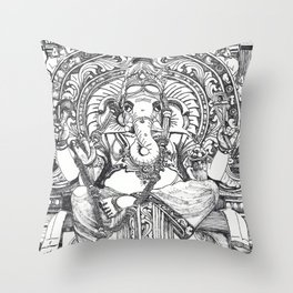 Genish black and white line drawing Throw Pillow