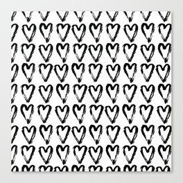 Black & White-Love Heart Pattern - Mix & Match with Simplicty of life Canvas Print