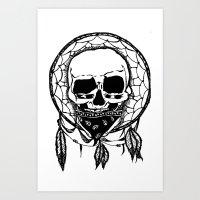 Dream Catcher Skull Art Print