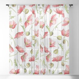 Red Poppies, Illustration Sheer Curtain