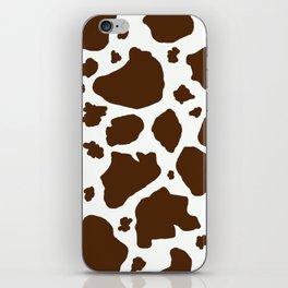 cow spots animal print dark chocolate brown white iPhone Skin