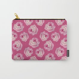 Pink Vintage Rose Pattern Carry-All Pouch