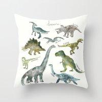 dinosaurs Throw Pillows featuring Dinosaurs by Amy Hamilton