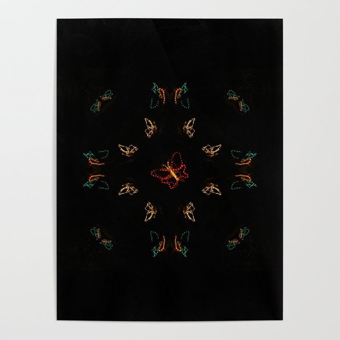 Christmas Lights Pattern - Butterfly Poster