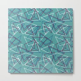 Colorful turquoise geometric pattern . Metal Print