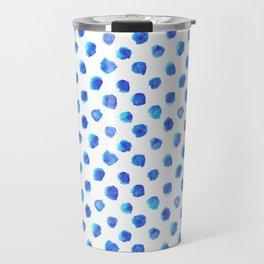 Watercolor Tie Dye Dots in Indigo Blue Travel Mug