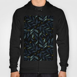 Pretty watercolor branches - green and black Hoody