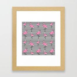 Flamingo Pattern Striped Background Framed Art Print