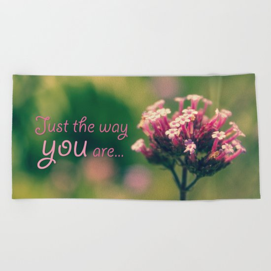 Spring Blooming Pink Flowers with Green Bokeh Background Beach Towel