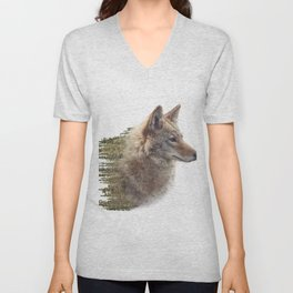 Double exposure of coyote portrait and pine forest on white background Unisex V-Neck