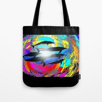 dolphins Tote Bags featuring Dolphins by JT Digital Art