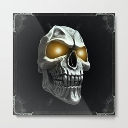 Skull with glowing yellow eyes Metal Print
