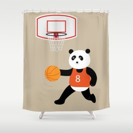 Play basketball with a panda Shower Curtain