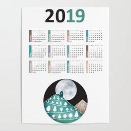 Calendar 2019, landscape Poster