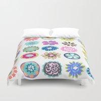 karen Duvet Covers featuring Bohemian Flower Shower Curtain by Karen Fields by Karen Fields Design