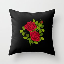 Painted Red Roses Throw Pillow