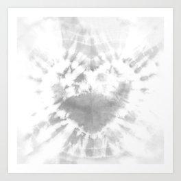 Tie-Dye Gray Heart Art Print