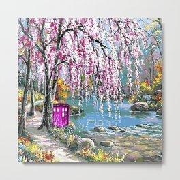 Tardis Art Cherry Blossom Metal Print