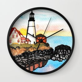 Watercolor Lighthouse Painting Wall Clock