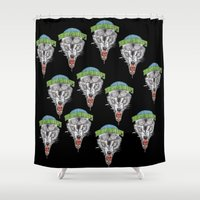 nba Shower Curtains featuring TIMBERWOLVES HAND-DRAWING DESIGN by SUNNY Design