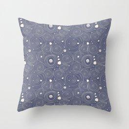 Blue Scribbles Pattern 08 Throw Pillow