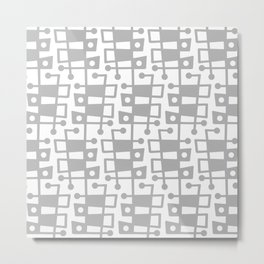 Mid Century Modern Abstract 213 Gray Metal Print