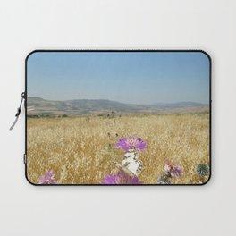 Butterflies, Purple Flowers Laptop Sleeve