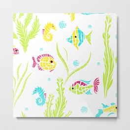 Cartoon Marine fish . Metal Print