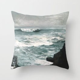 A visit to Winslow Homer's Cannon Rock Throw Pillow