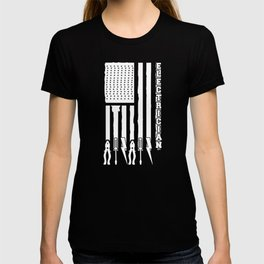 Electrician Gift - Electrician On USA Flag W/ Tools T-shirt