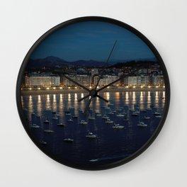 Night view of Donostia-San Sebastian. Spain. Wall Clock