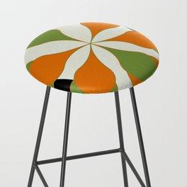 Mid-Century Modern Art 1.4 - Green & Orange Flower Bar Stool