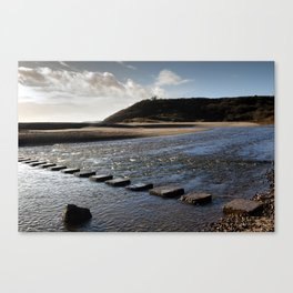 Three Cliffs Bay stepping stones Canvas Print