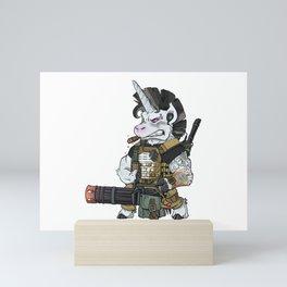 Badass Unicorn Army Military Operator Mini Art Print