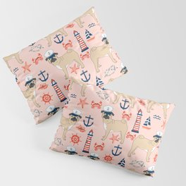 Pug nautical anchor sailing lighthouses dog breed pet portraits by pet friendly Pillow Sham