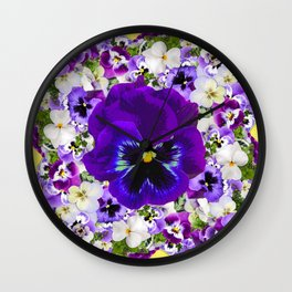 PURPLE & WHITE PANSY GARDEN ART Wall Clock