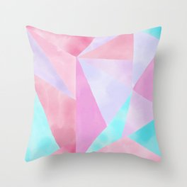 Geometrical Pink Lilac Teal Watercolor Hand Painted Pattern Throw Pillow
