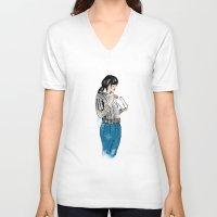 macaron V-neck T-shirts featuring Macaron by Iva Zugic Art