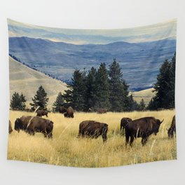 National Parks Bison Herd Wall Tapestry