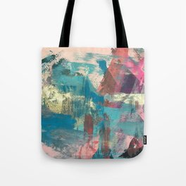 Sugar Rush [2]: a colorful, abstract mixed media piece in pinks, blues, and gold Tote Bag